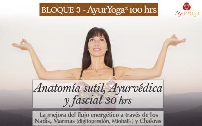 Anatomía sutil, Ayurvédica y Fascial 30 hrs (Bloque 3 – Fm. AyurYoga®)